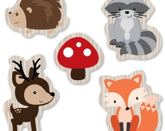 Woodland Shaped Paper Cut Outs - Woodland Creatures Baby Shower or Birthday Small Die Cut Decorations - Hedgehog, Raccoon, Fox, Deer - 24 pc