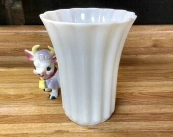 Large Milk Glass Ribbed Flower Alter Vase White Wedding Decor