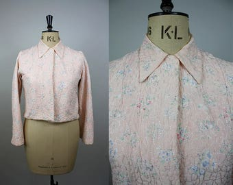 1940s Quilted Bed Jacket / 40s Pink Jacket / Floral Print / Long Sleeved / Size Large / M L XL