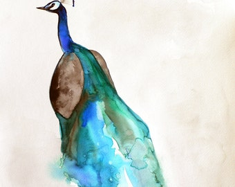 Featured in West Elm - Peacock Watercolor - Peacock Art - 8 x 10 Giclee Print - Bird Watercolor