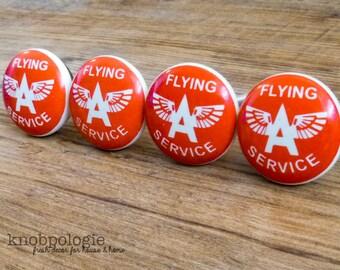 SET OF 4 - Retro Red and White Flying Ace Knob - Flying Service - Aviation Aviator Drawer Pull - Baby Boy Nursery - Ceramic Decorative Knobs