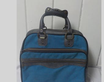 Blue and Gray Vintage  Bowling Bag, Overnight bag