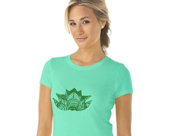 Lotus Flower Tshirt, Yoga Shirt, Gym Clothes, Meditation T Shirt, Mint Green Cotton Crewneck Short Sleeved Graphic Tee Shirt, Hand Printed