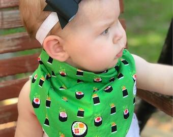 Sushi Baby Bib, Bento Box Bibdana, Michael Miller Bibdana, Organic Baby Bib, Baby Accessories, Baby Shower Gift, Drool Bib