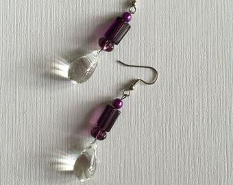 Purple and Glass Tear Drop Beads. -  Drop and Dangle Beaded Earrings