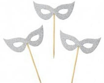 Mask cup Cake toppers glitter