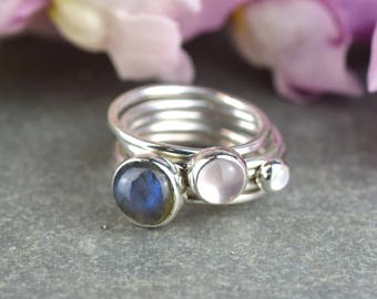 Silver Stacking Ring | Labradorite Stacking Ring | Moonstone Ring | Rose Quartz Ring | Silver Stackable Rings | Alison Moore Designs |Frozen