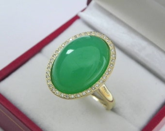 AAAA Chrysoprase 18x13mm  11.87 Carats   14K Yellow gold Diamond halo cabochon ring. 1506