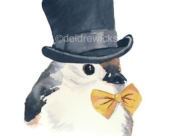 Bird Watercolor Print - Watercolour Painting, Tufted Titmouse, Top Hat, Bow Tie, Fine Art Print, Nursery Art