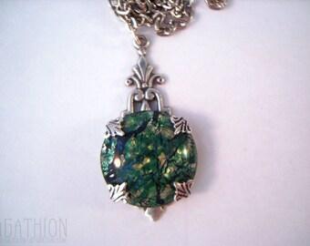 Art Deco Foil Cabochon Pendant Charm Necklace multicolor blue green gold