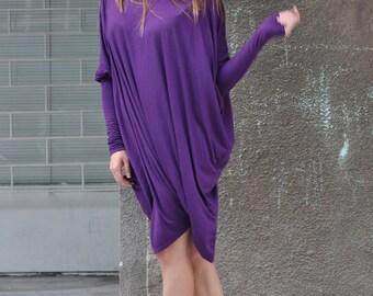 Purple Cotton Twisted Tunic, Extra Long Sleeve Loose Tops, Elegant Sexy Dress, Maxi Top, Knee Length Dress, Sexy Dress - TU0278TR