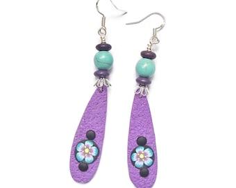 Polymer Clay Purple Long Dangle Earrings BOHO E100