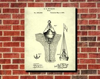 Marker Buoy Blueprint, Sailing Poster, Boating Poster, Marker Buoy Patent, Sailboat Poster, Nautical Print Wall Art