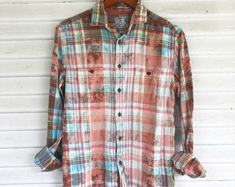 SMALL - Flannel Shirt - Bleached - Vintage Washed Flannel - Oversized Flannel - Distressed Flannel - Plaid Shirt - Fall Shirt - #72 BM