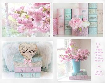 Shabby Chic Decor, Flower Photographs, Pink Aqua Floral Prints, Baby Girl  Nursery Room