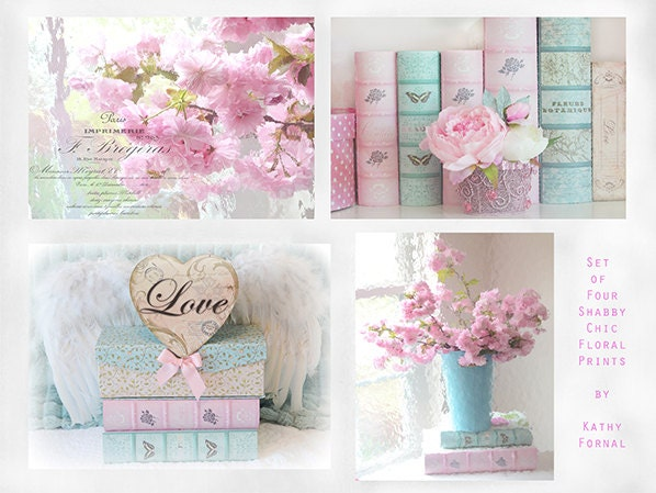 Shabby Chic Decor Flower Photographs Pink Aqua Floral