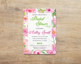 Floral Bridal Invitation, Bridal Shower Invite Flowers, Spring Summer, Wedding Shower, Hot Pink Green, Garden Party, Colorful, Printable