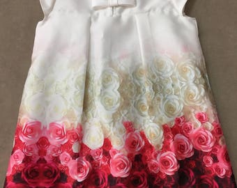 Red rose floral A-style girl dress