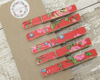 Cath Kidston Decoupage Pegs Clothespeg Magnets, Memo Magnets, Fridge Magnets, Memo Keepers