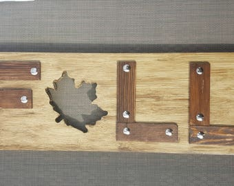 Fall Sign with Scrolled Leaf - Brown