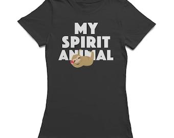 Sloth My Spirit Animal True Laziness Fashion Women's Black Funny T-shirt