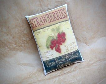 Mini Strawberry print pillow | Vintage strawberry advertisment