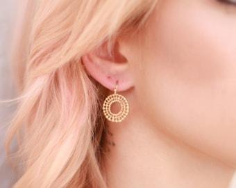 Minimalist Earrings // Matte Gold Plated Sunburst Earrings