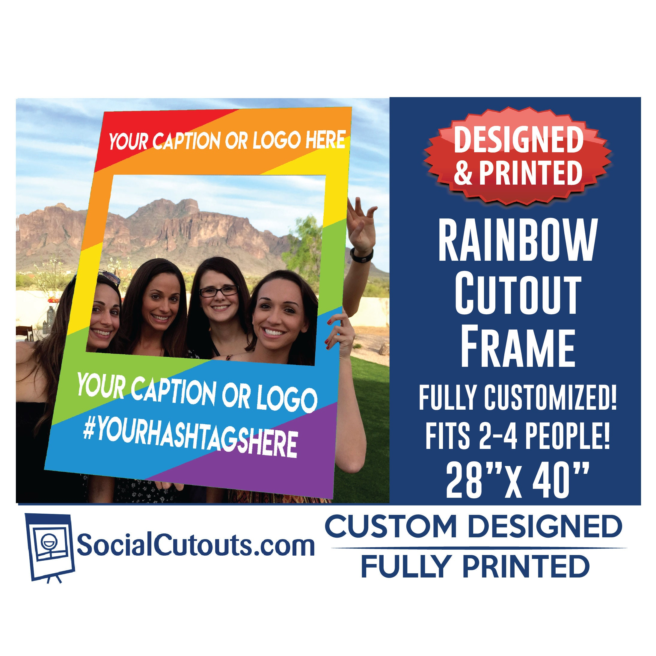 Rainbow selfie frame fully customized and printed photo booth request a custom order and have something made just for you jeuxipadfo Choice Image