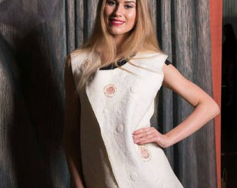 Women waistcoat Asymmetric Nunofelting  White Vest Wedding Vest Exclusive Handmade Designer clothing Felted vest Wearable art vest Warm Cozy