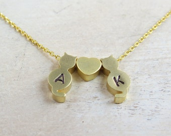 Personalized cat necklace, kitty cat necklace, cat memorial necklace, hand stamped cat necklace, pet memorial necklace,initial cat necklace,