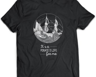 Pirate Tshirt, Pirate Gift, Pirate Clothing, Pirate Top, Pirate Tee, Pirate Apparel, Black Tshirt, Caribbean Pirates Gift, Black Sails
