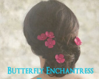 Burlap Wedding Flowers, Bridal Hair Accessories, Woodland Hair Flowers - 6 Fuchsia Burlap Hydrangea Hair Pins