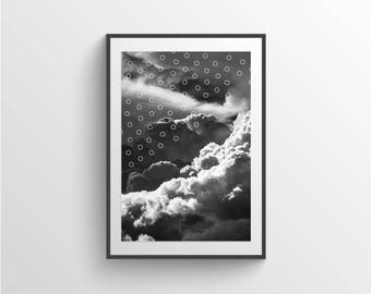 Clouds print, Modern abstract clouds poster, Printable poster, Black and white abstract wall art, Modern wall decor, Cloudy sky