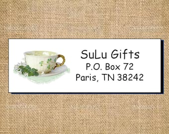 SALE Irish Shamrock Four Leaf Clover Teacups Personalized Address Labels Elegant and Classy Designs Tea Cup and Saucer