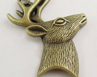 Bronze large metal deer head pendant