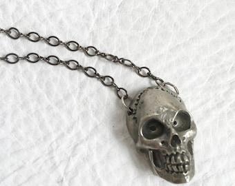 SALE White Bronze skull necklace Silver toned skull pendant Skull Jewelry