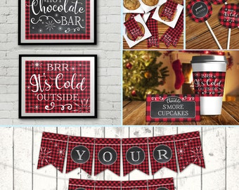 Hot Chocolate Bar Party Set - Hot Chocolate Party,Hot Cocoa Party,Holiday Party, Self-Editing   DIY Editable Text INSTANT DOWNLOAD Printable
