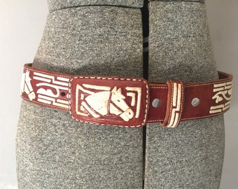 Tooled Leather Belt - Brown Western Cowgirl Vintage - Horse Buckle Wide - 38 Small Medium - Womens