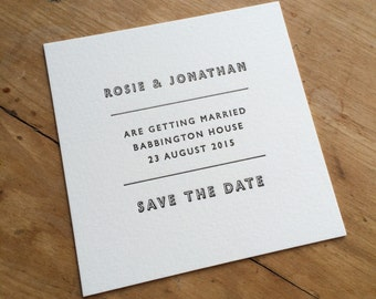 50 x Small  Letterpress Save The Date Cards