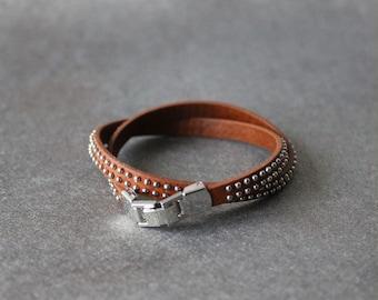 Mini Ball Studded Leather Bracelet(CALF)