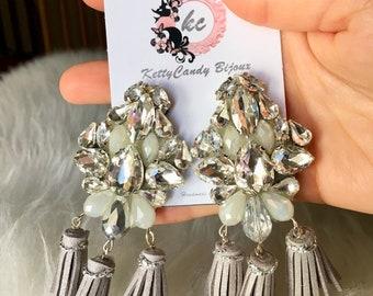Silver Check Earrings