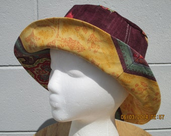 """Bucket hat 22"""" small/med reversible Hat Purple and Yellow  """"Roma Collection"""""""