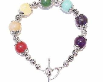 Semi-precious Gemstone Handcrafted Chakra / Meditation Bracelet 21cm