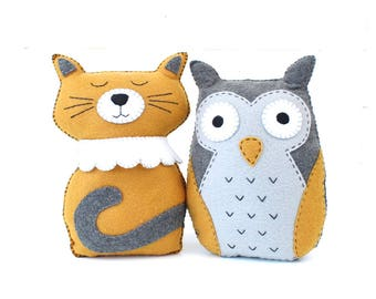 The Owl and the Pussycat Sewing Pattern, Cat Hand Sewing,  Felt Cat Owl Stuffed Animals, PDF Instructions DIY