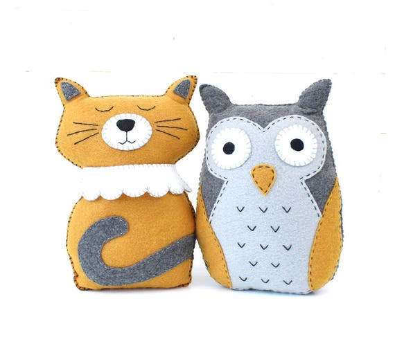 Felt Animal Sewing Patterns The Owl And The Pussycat Cat Hand
