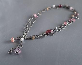 Boho Two Layer Delicate Bracelet, Oxidized Sterling Silver Bohemian, Gemstone, Drop, Garnet, Amethyst,Dainty,Double,Strand,Vintage,Victorian