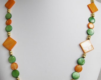 Orange and Green Mother of Pearl Necklace