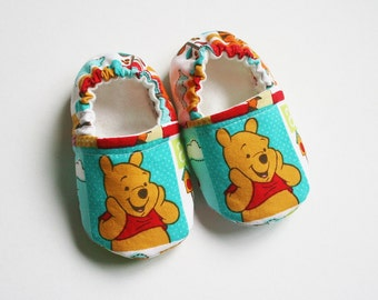 Whinnie the Pooh baby/toddler cotton slippers. Grip tight soles for 9 months up. Made to order.
