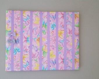 Bow Holder, Bow Organizer, Headband Holder, 16 x 20 Bow Board, Headband Organizer Pink Butterfly Fabric, Baby Shower Gift, Nursery Decor