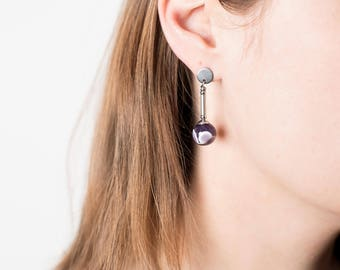 Dangle earrings, Amethyst earrings, Quality earrings